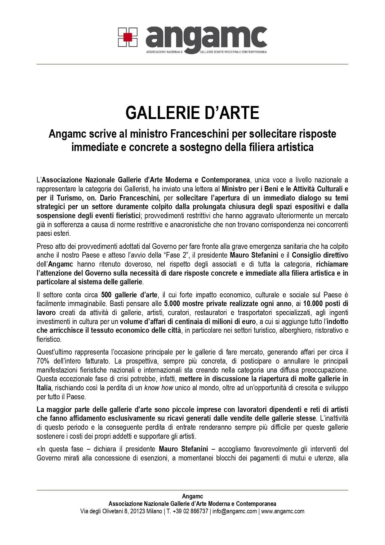 LETTERA AL MINISTRO ON. DARIO FRANCESCHINI- CS