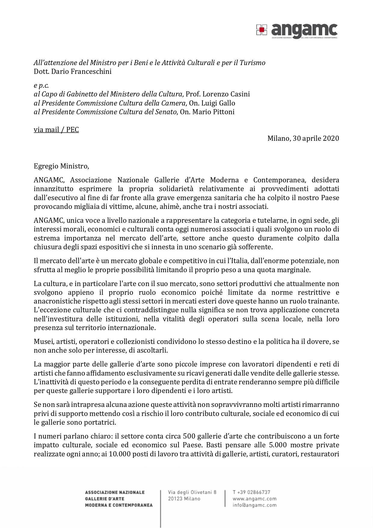 LETTERA AL MINISTRO ON. DARIO FRANCESCHINI