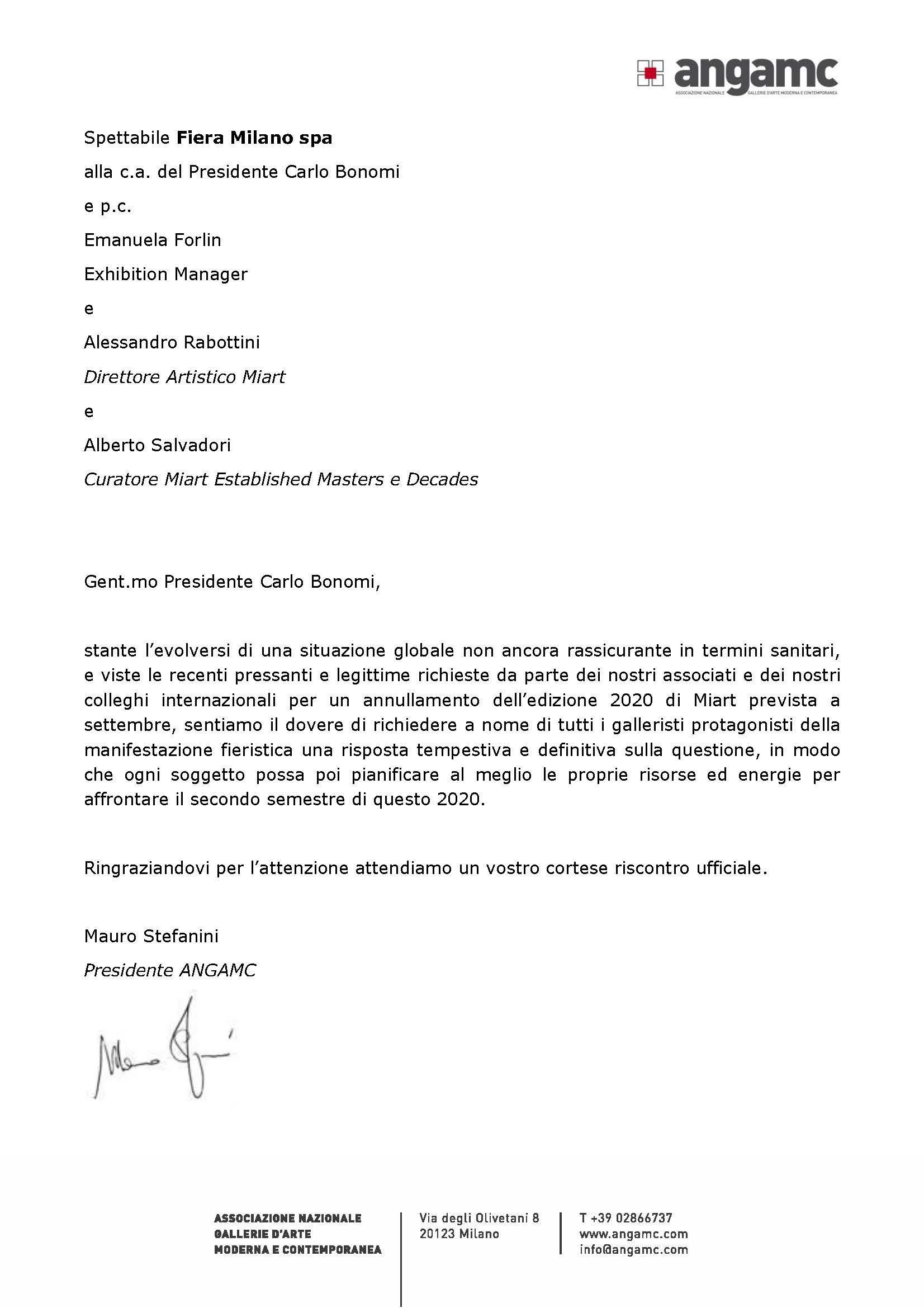 LETTERA AL PRESIDENTE FIERA MILANO CARLO BONOMI